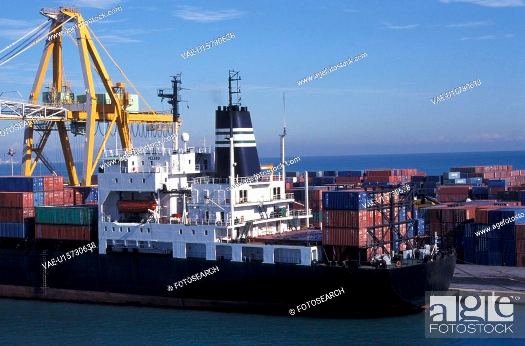 Stock Photo: Bernhard, blue, business, cling, container, container ship.