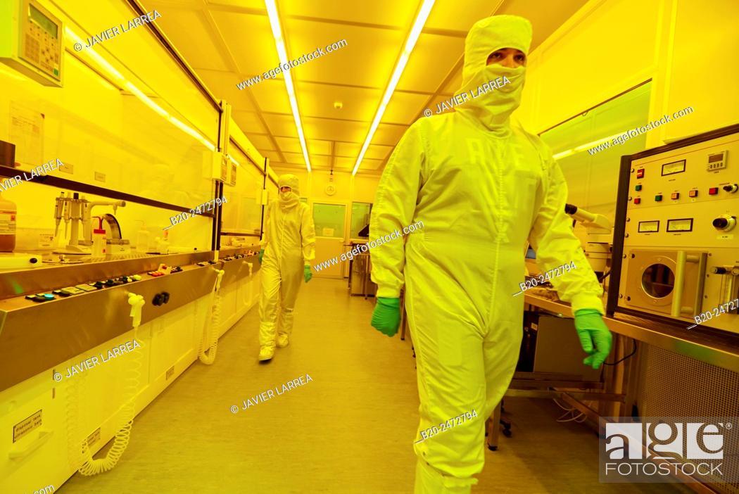 Stock Photo: Photo bay. Photolithography Room. Cleanroom. Nanotechnology. Laboratory. CIC nanoGUNE Nano science Cooperative Research Center. Donostia.