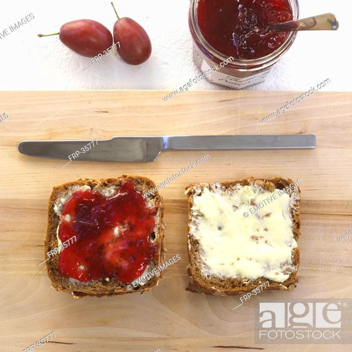 Stock Photo: bread with jam.