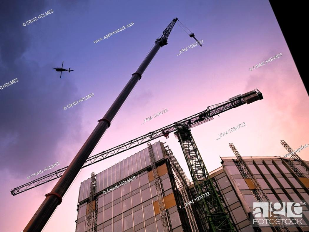 Stock Photo: The removal of the crane at 11 Brindleyplace, Birmingham, West Midlands.