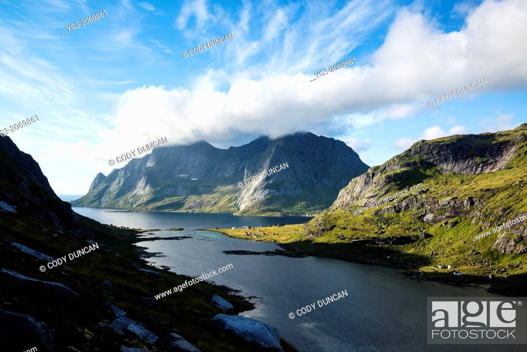 Stock Photo: View towards Vindstad and Bunesfjord, Moskenesoy, Lofoten Islands, Norway.