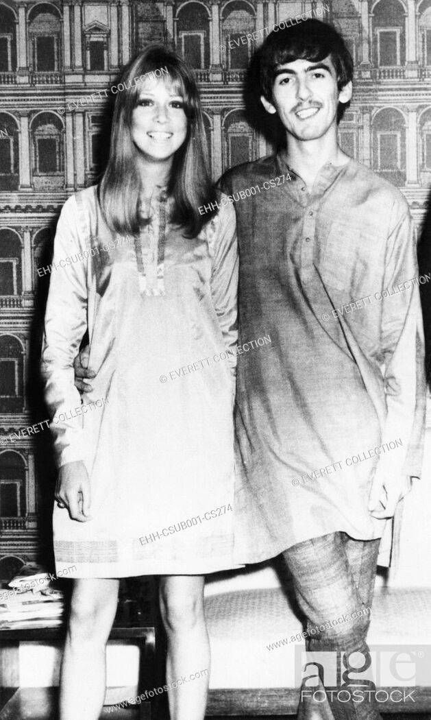Stock Photo: George Harrison and wife Pattie wearing traditional Indian outfits in Mumbai (Bombay), India. Sept 29, 1966. George is wearing an outfit called 'Churidar.