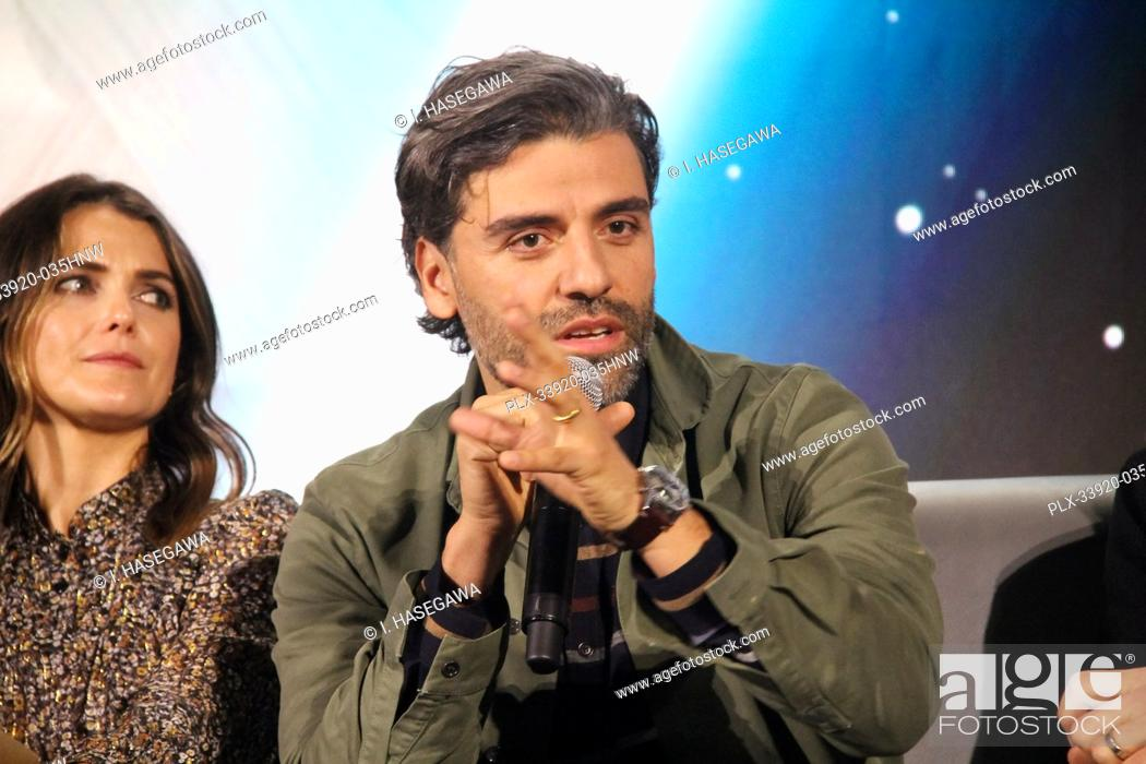 """Stock Photo: Keri Russell, Oscar Isaac 12/04/2019 """"""""Star Wars: The Rise of the Skywalker"""""""" Press Conference held in Pasadena, CA. Photo by I."""