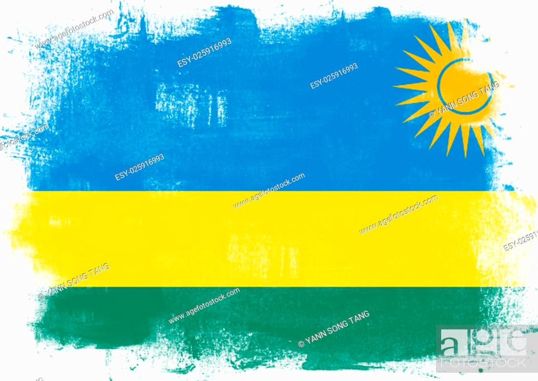 Stock Photo: Flag of Rwanda painted with brush on solid background,.