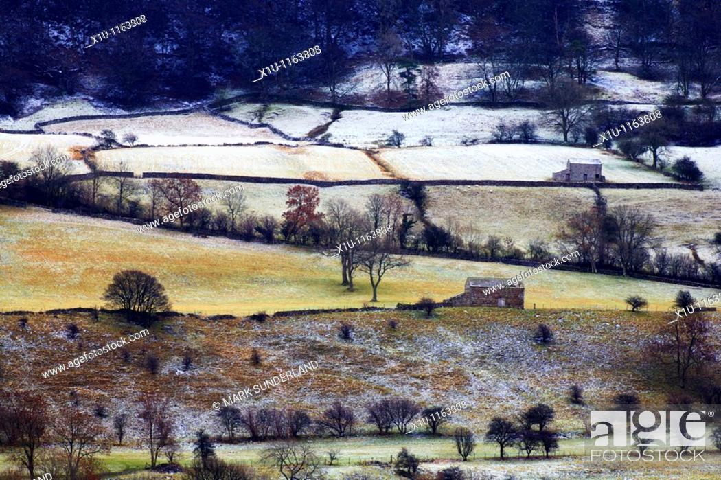 Stock Photo: Barns on the slopes of Pen Hill Wensleydale Yorkshire Dales England.