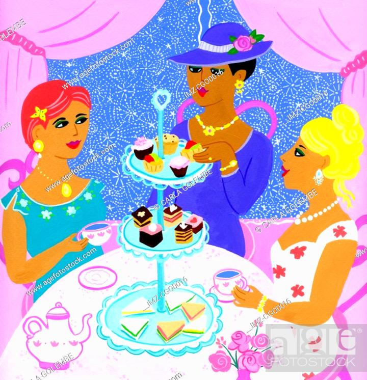 Stock Photo: Three women having high tea.