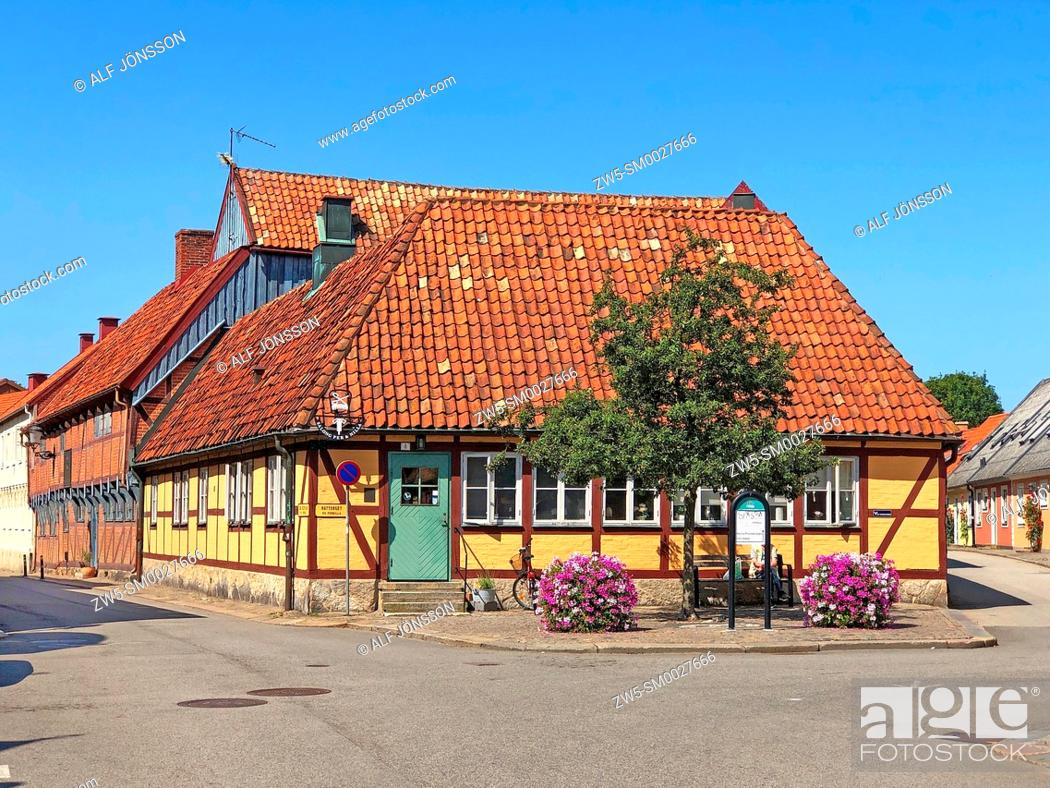Stock Photo: Half-timbered house in the old town of Ystad, Scania, Sweden.
