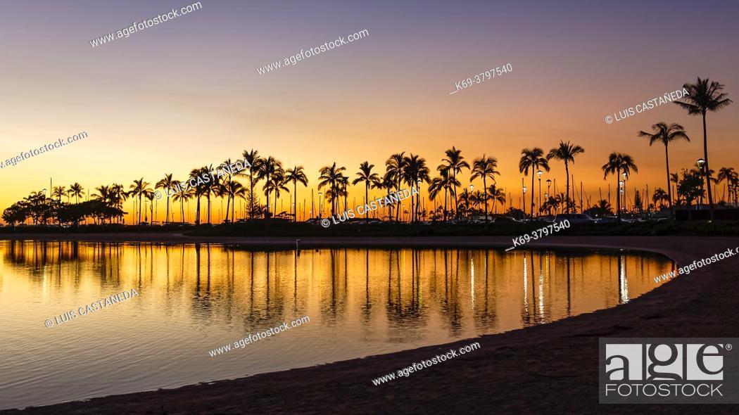 Stock Photo: Sunset at Waikiki Beach. Honolulu. Hawaii. USA.