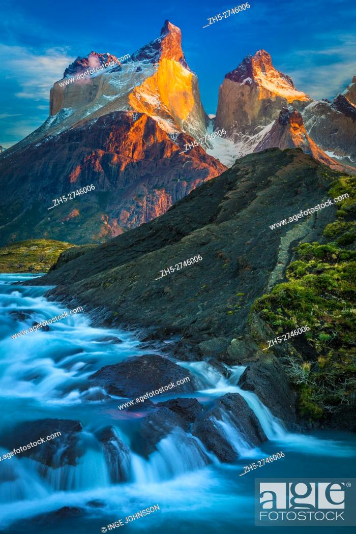 Stock Photo: Torres del Paine National Park is a national park encompassing mountains, glaciers, lakes, and rivers in southern Chilean Patagonia.