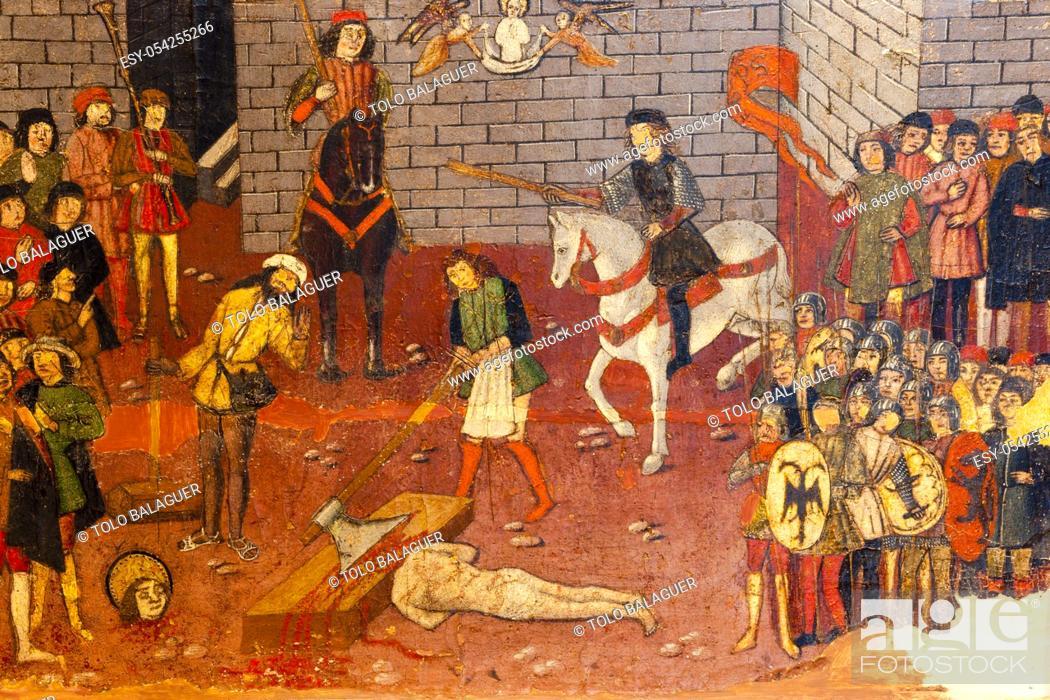 Imagen: retablo de San Jorge, predela, decapitacion de San jorge , años 1468-1470, Pere Niçard, óleo sobre madera, Palau Episcopal, -Museu Diocesà de Mallorca-.
