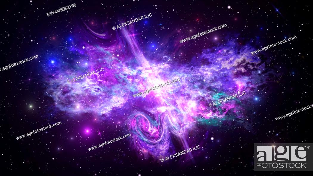 Stock Photo: Universe with Galaxy, Stars and Colorful Nebula on Dark Starry Background.