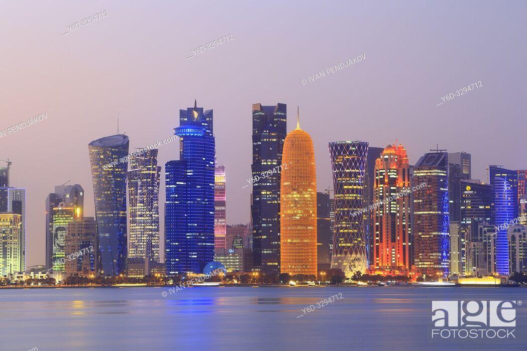 Stock Photo: Doha at Dusk, Qatar.