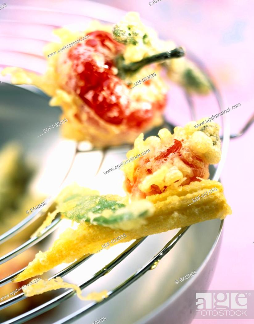 Stock Photo: crunchy baby vegetable tempuras.