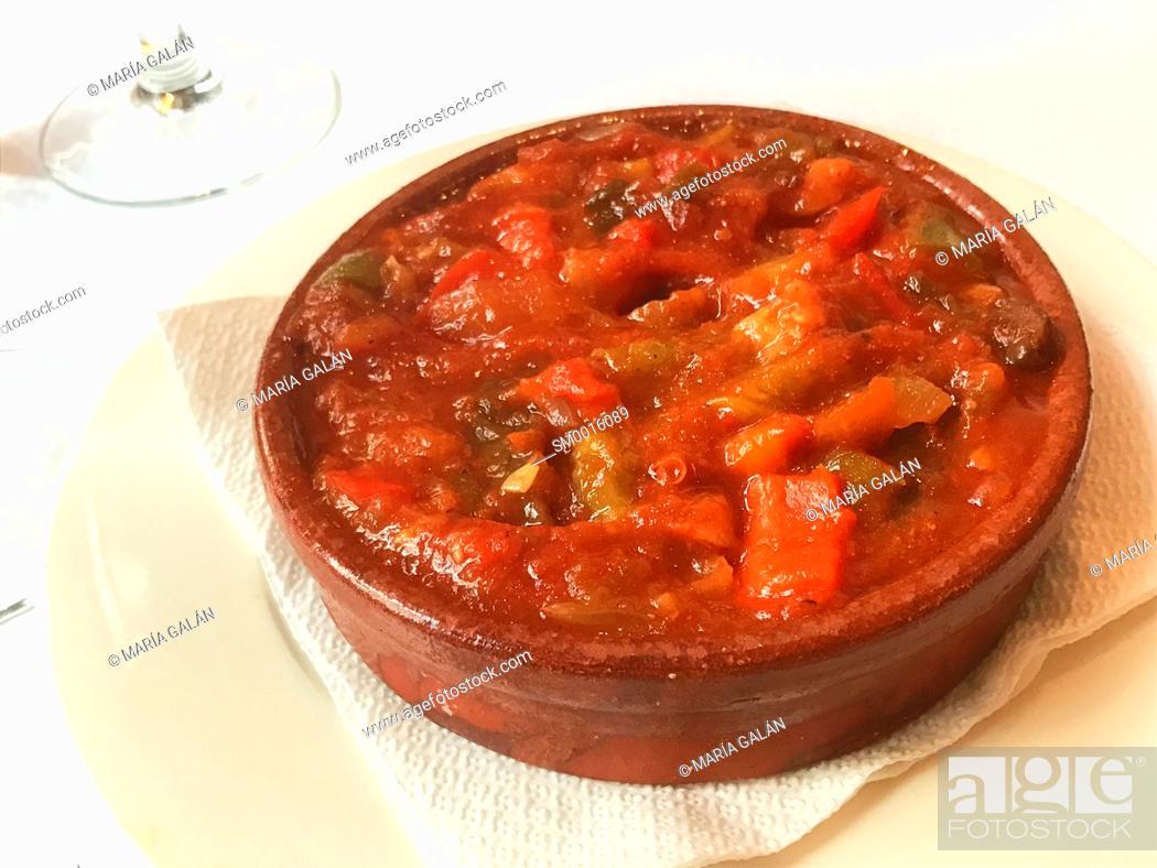 Stock Photo: Pisto manchego serving. La Mancha, Spain.