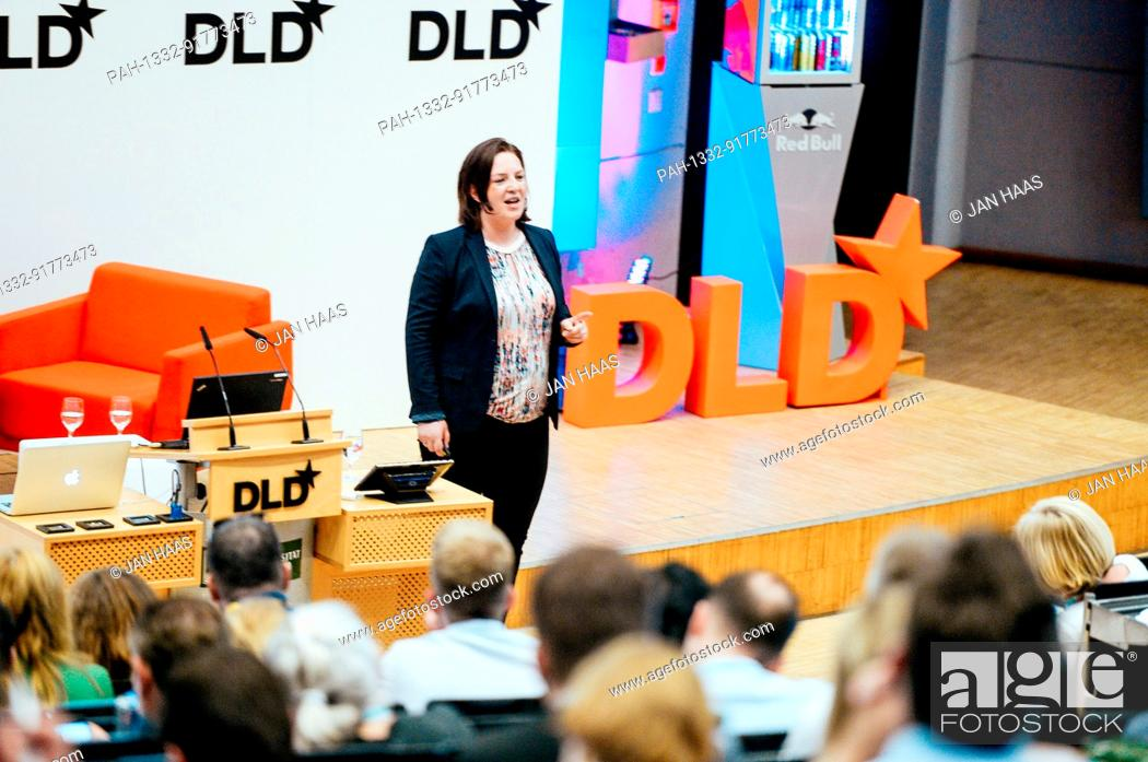 Stock Photo: BAYREUTH/GERMANY - JUNE 21: Constanze Buchheim (iPotentials) smiles while speaking on the stage during the DLD Campus event at the University of Bayreuth on.