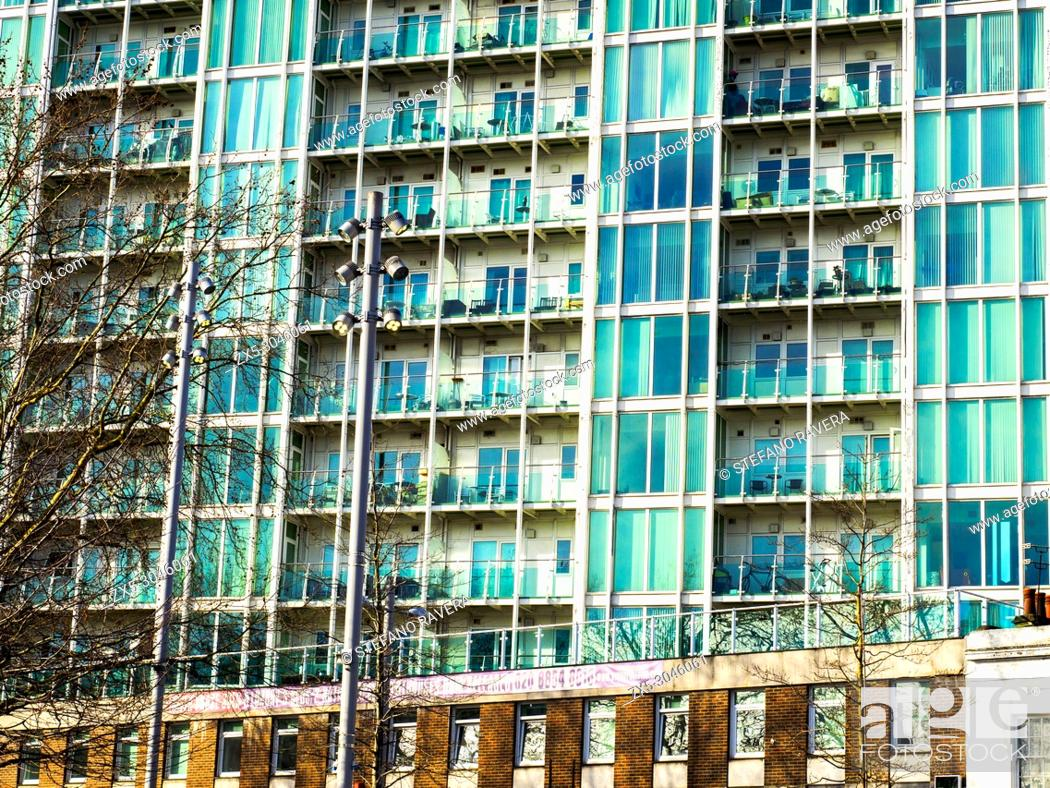 Stock Photo: Modern apartments building in Woolwich - South East London, England.