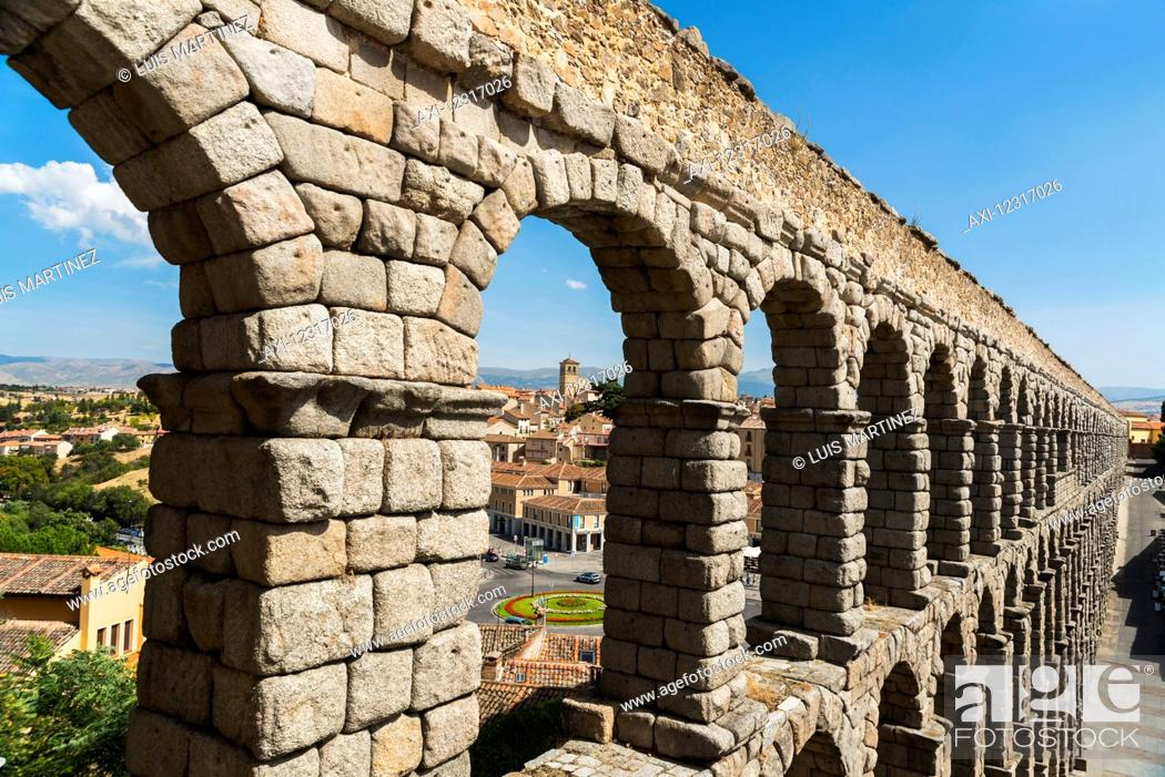 Stock Photo: Segovia's Aqueduct is one of the architectural symbols of Spain, built in the 2nd Century A.D; Segovia city, Castilla Leon, Spain.