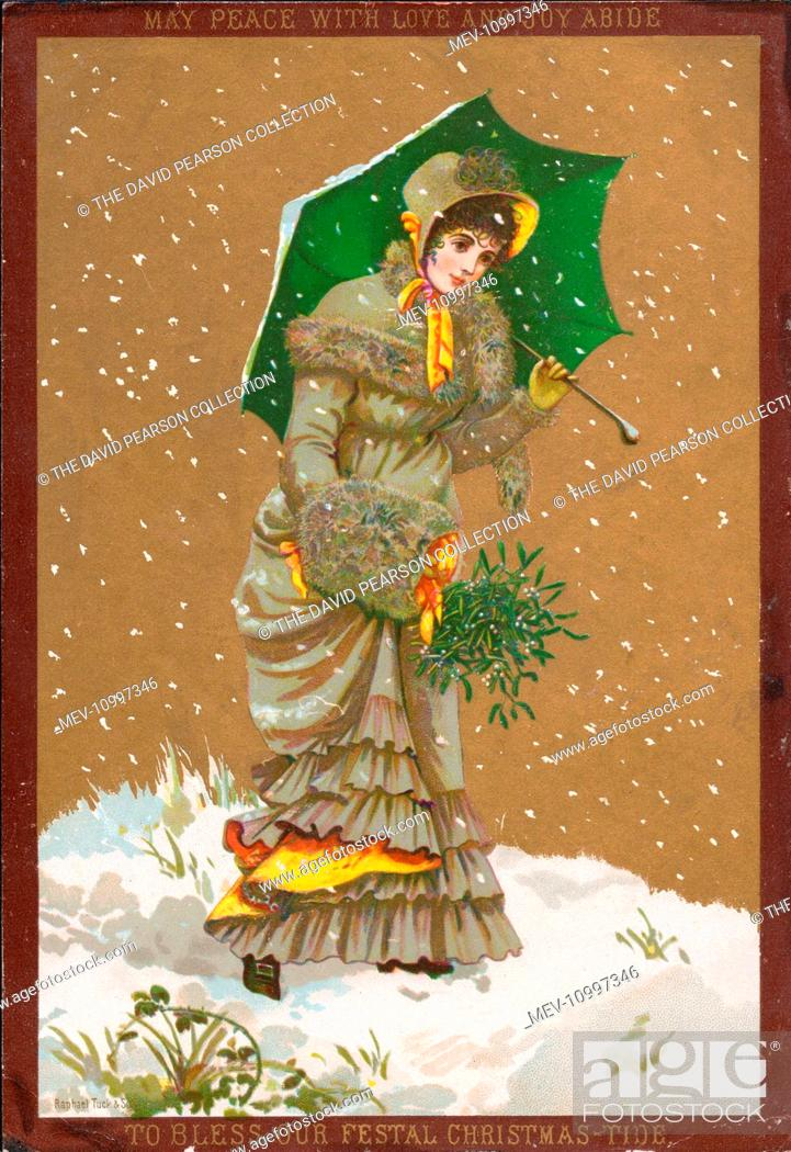 Lady walking through the snow on a Christmas card, with a fur muff ...