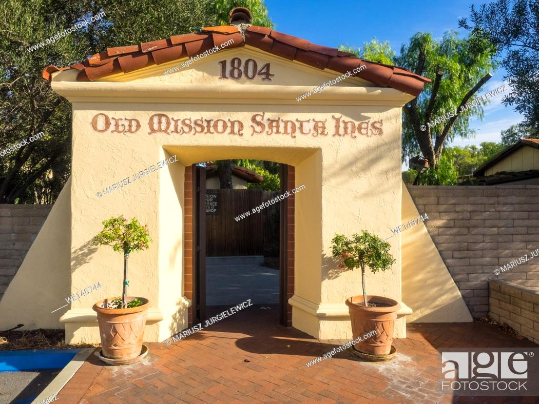 Stock Photo: Mission Santa Ines is a Spanish mission in the present-day city of Solvang, California.