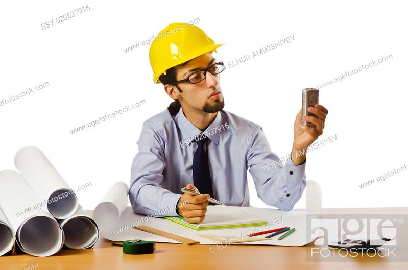Stock Photo: Engineer working with drawings on white.