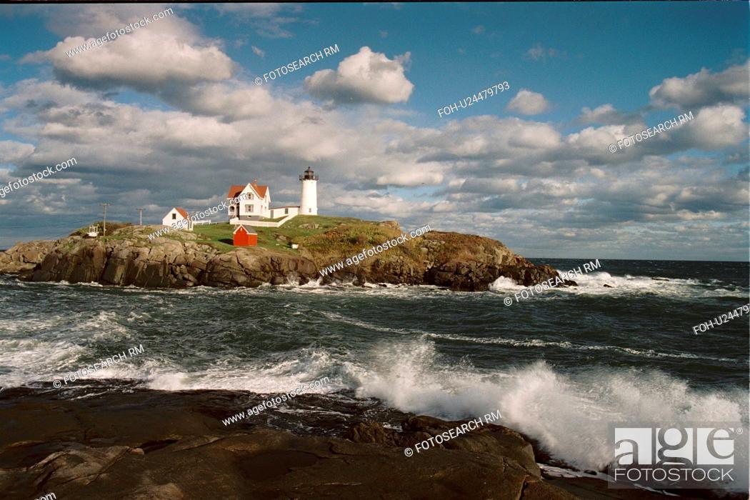 Stock Photo: lighthouse located at Cape Neddick, Maine, United States.