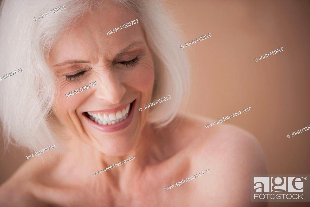 Stock Photo: Laughing Caucasian woman.