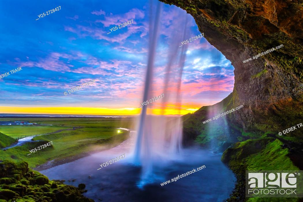 Stock Photo: Seljalandsfoss waterfall, midnight sun, Iceland, South West Iceland, Golden Circle tour.