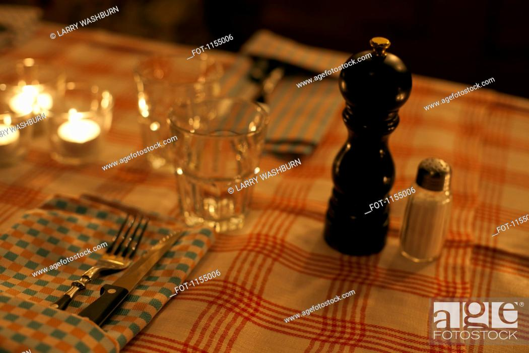Stock Photo: Restaurant table setting.