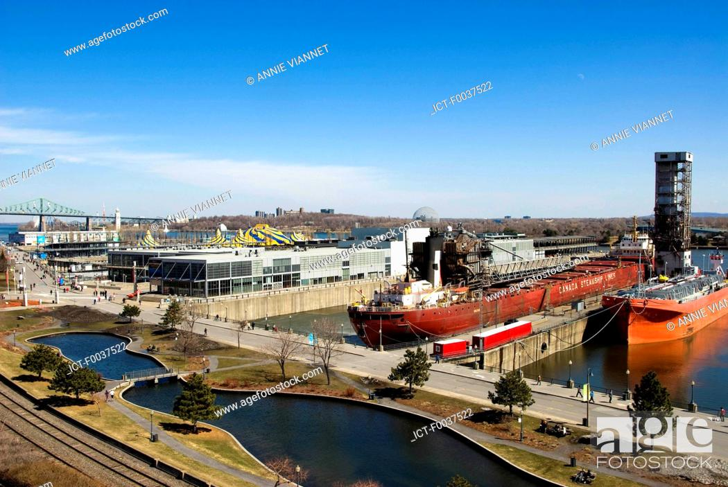 Stock Photo: Canada, Quebec, Montreal, the port, Saint Helen's island and jacques Cartier bridge.