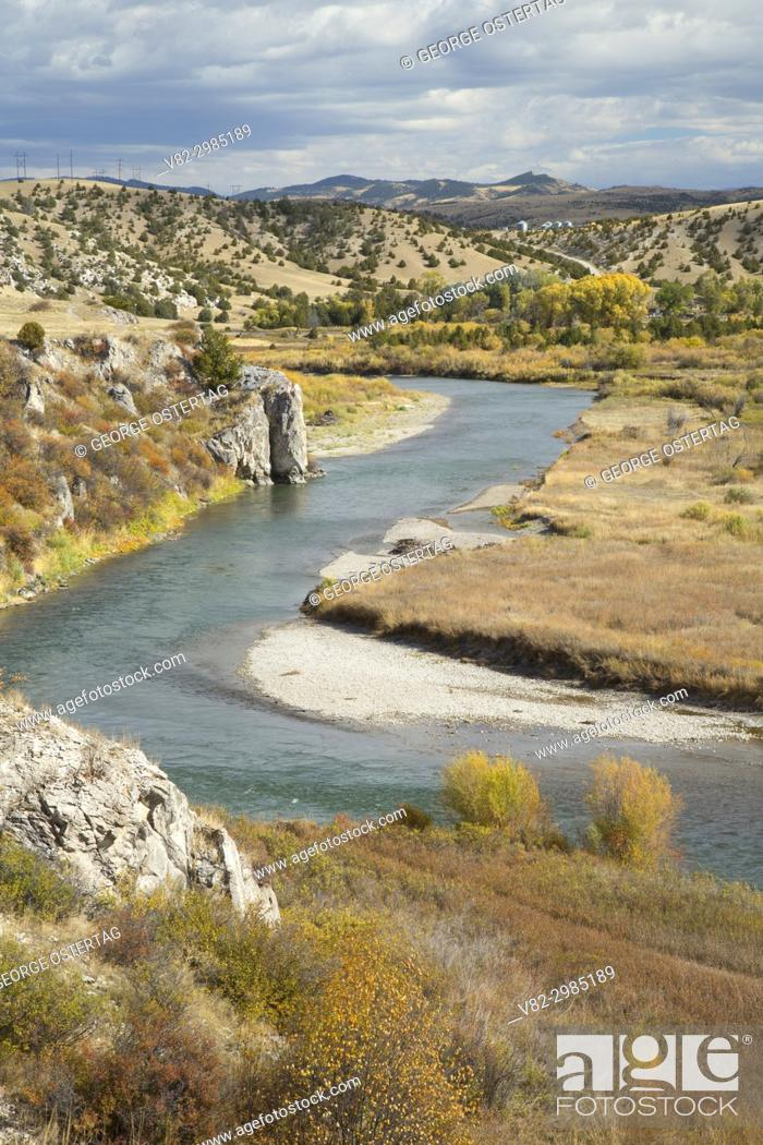 Stock Photo: Gallatin River from Fort Rock Trail, Missouri Headwaters State Park, Montana.
