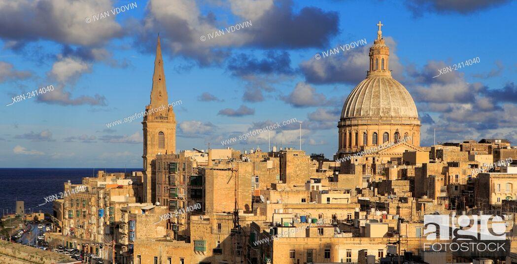 Stock Photo: Ð¡armelite church, La Valletta, Malta.
