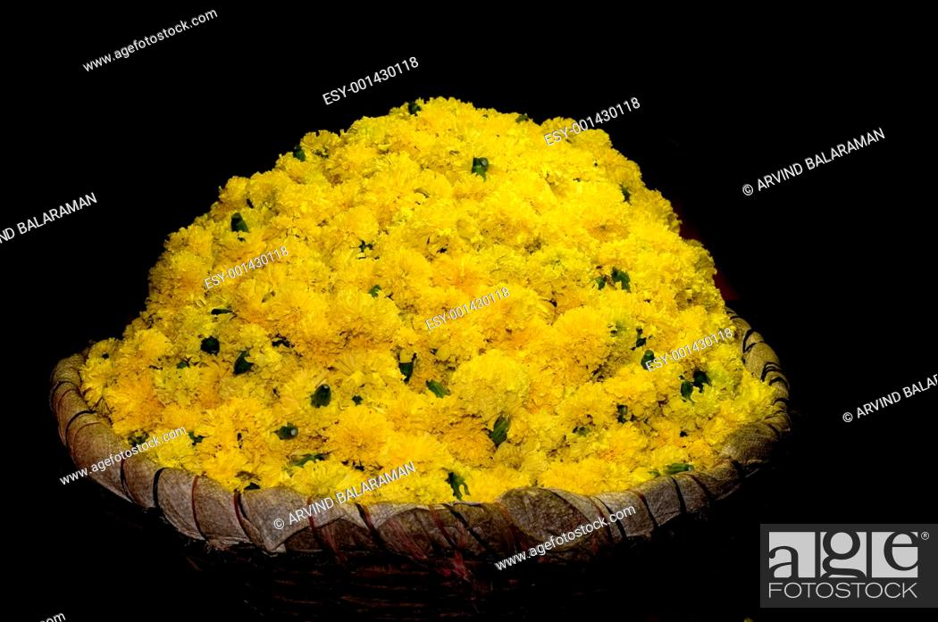 Stock Photo: basket full of yellow flowers at a local flower market.