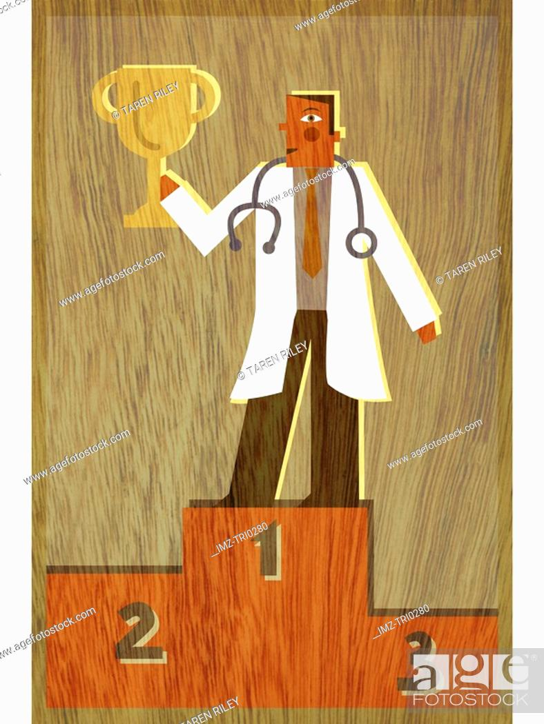 Stock Photo: A physician standing in first place holding up a trophy.