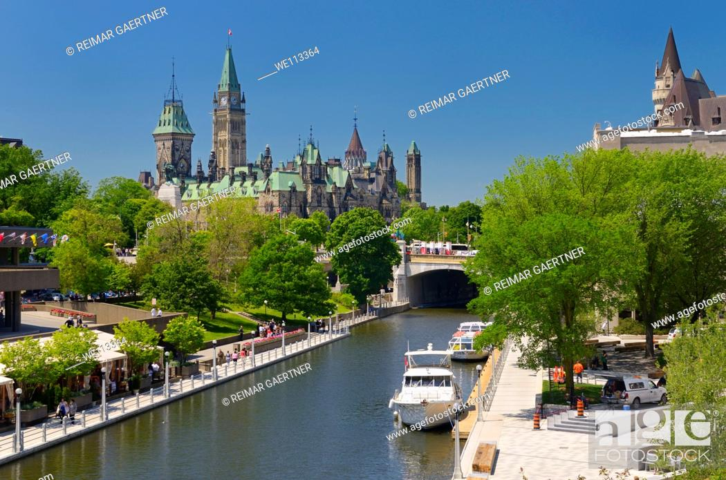 Stock Photo: Overview of the Ottawa Parliament Buildings Rideau Canal National Arts Centre and Chateau Laurier.