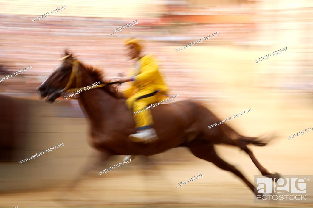 Stock Photo: Trial Race, The Palio, Siena, Italy.