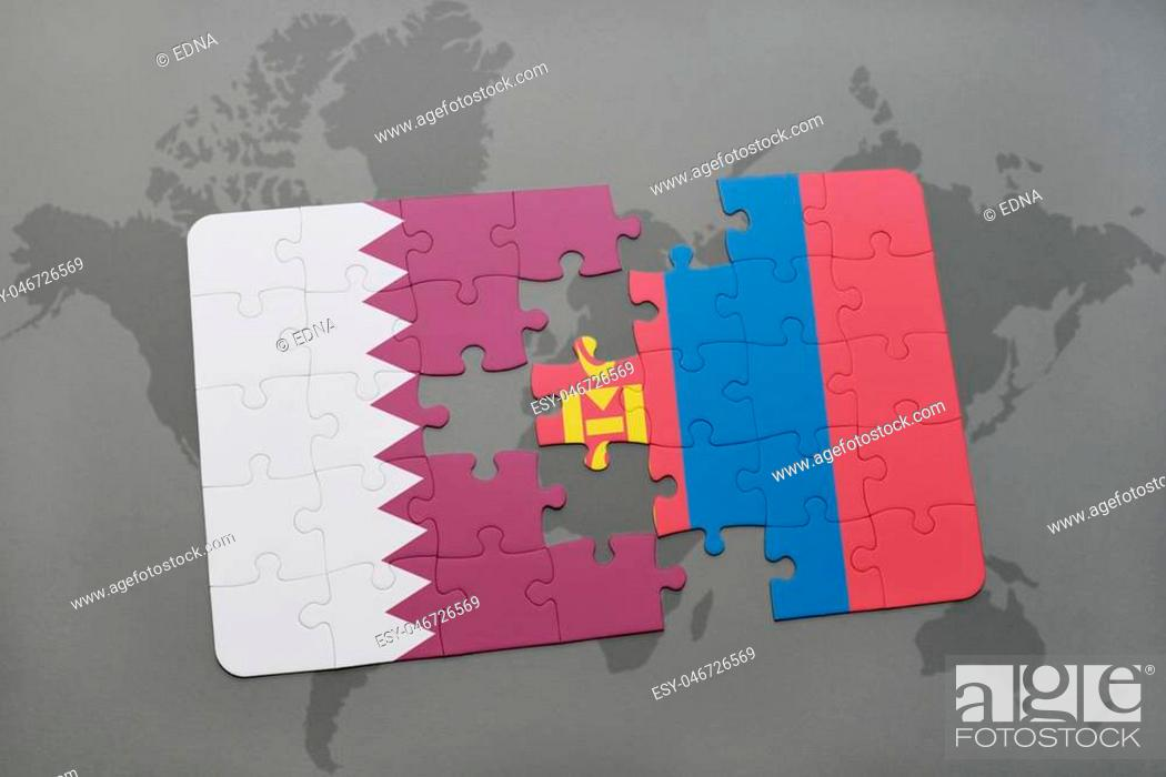 Stock Photo: puzzle with the national flag of qatar and mongolia on a world map background. 3D illustration.
