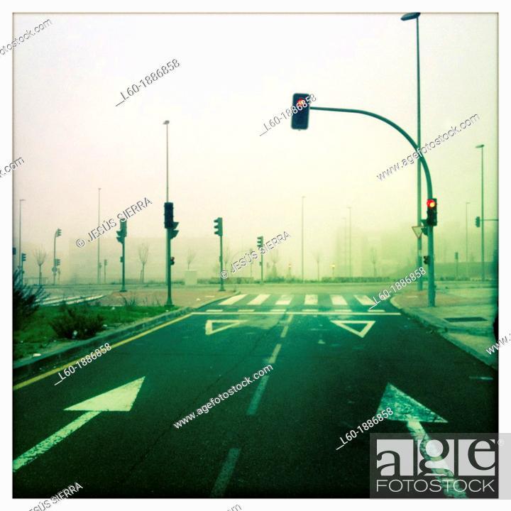 Stock Photo: Fog in Alcorcon, Comunidad de Madrid, Spain.