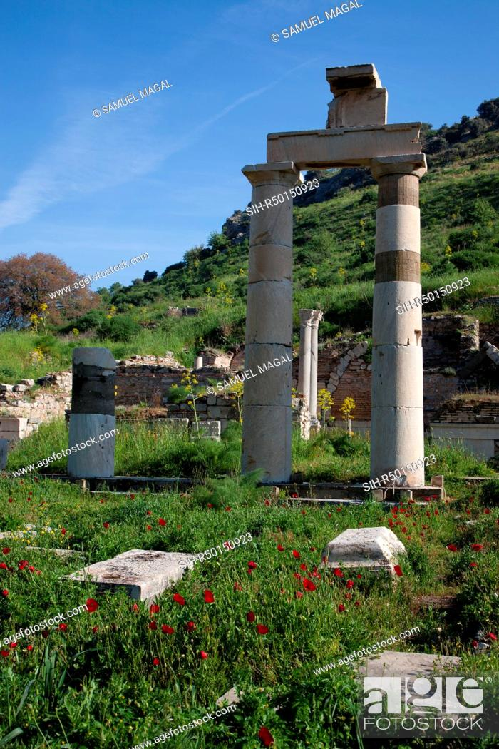 Stock Photo: The Prytaneion was the town hall of the autonomous city of Ephesus. It also held ceremonies, banquets and other important events.