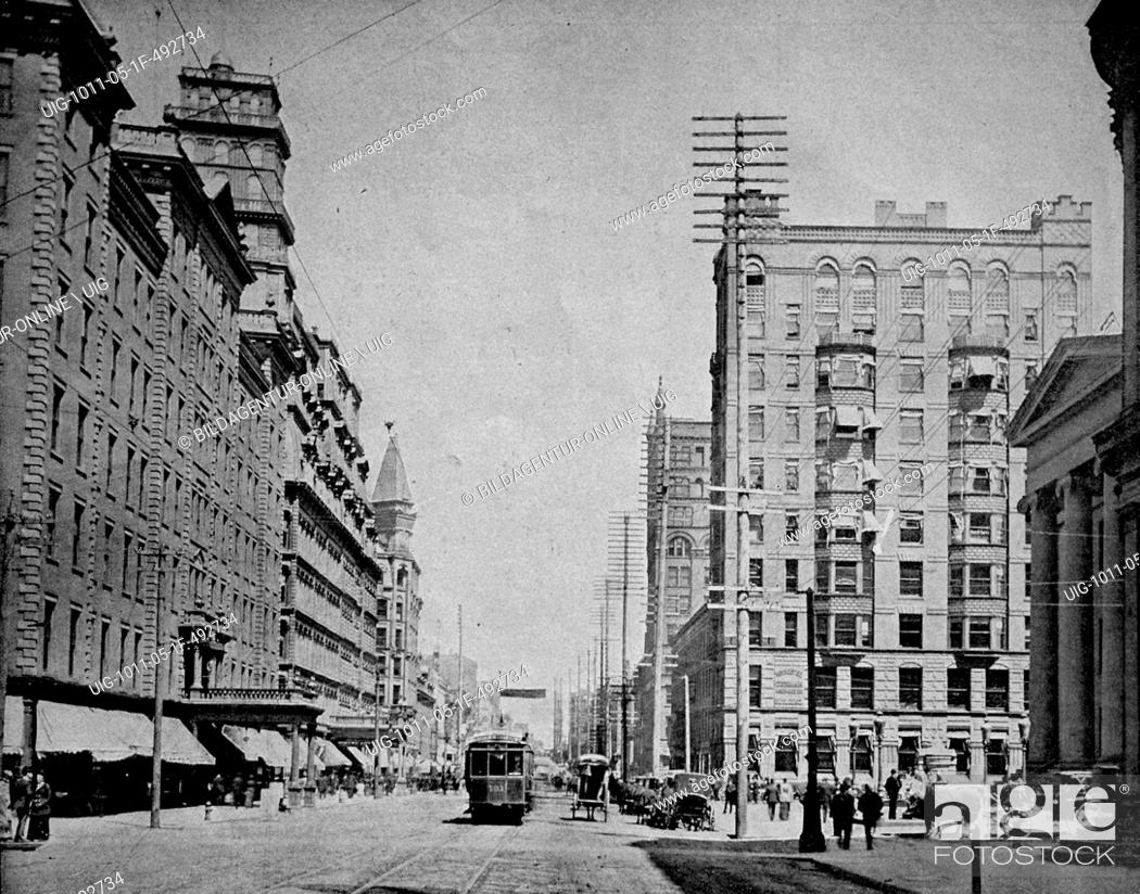 Stock Photo: One of the first autotype photographs of the mainstreet in rochester, america.
