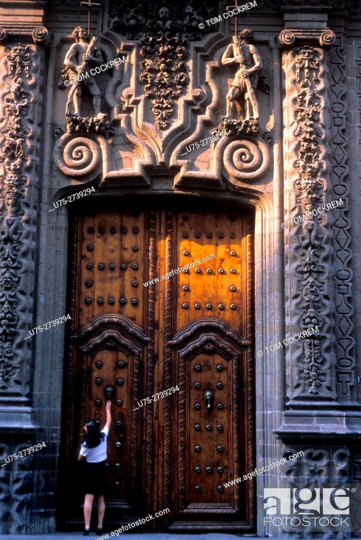 Stock Photo: Iturbide palace doors, Mexico City, Mexico.