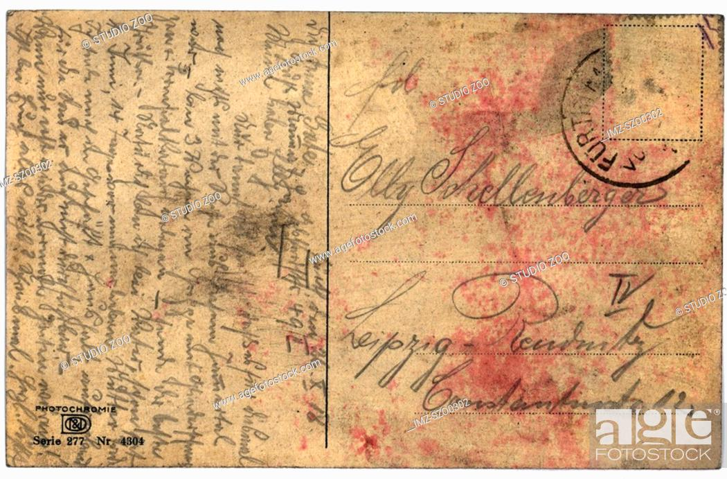 Stock Photo: Vintage postcard with script writing.