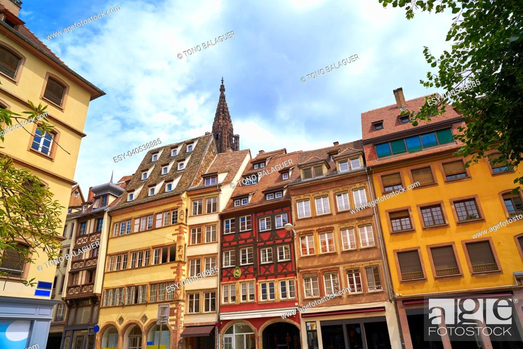Stock Photo: Strasbourg downtown street facades in Alsace France.