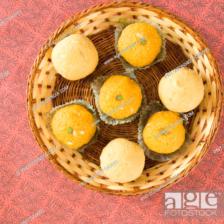 Stock Photo: High angle view of Ladoos in a basket.