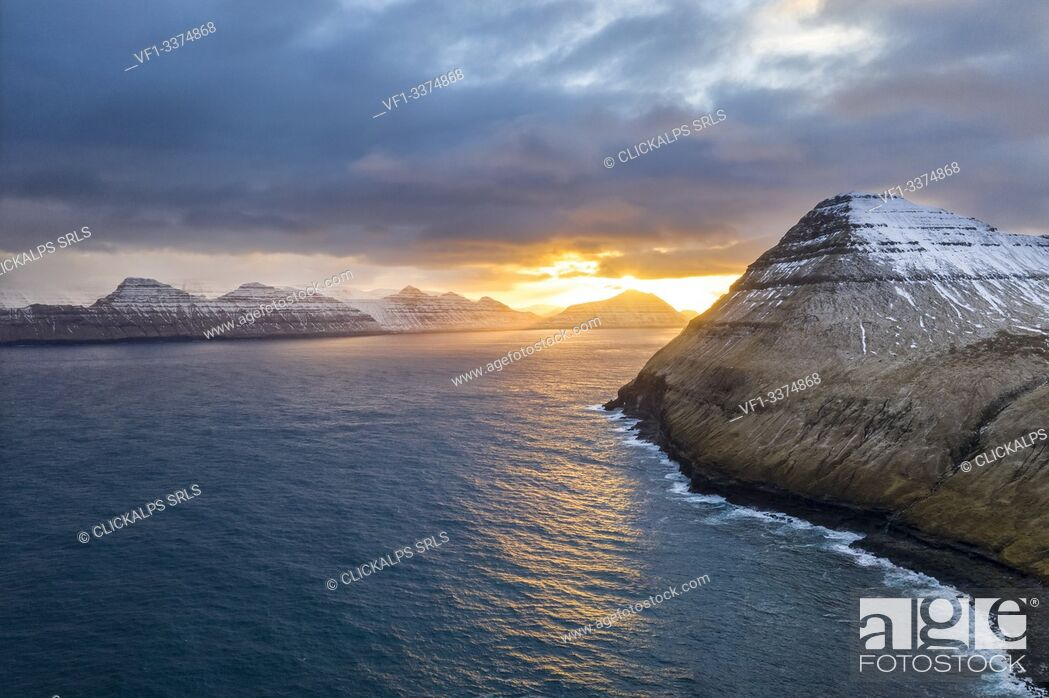 Stock Photo: Aerial view from Gjogv, Kalsoy Island on background (Eysturoy island, Faroe Islands, Denmark).