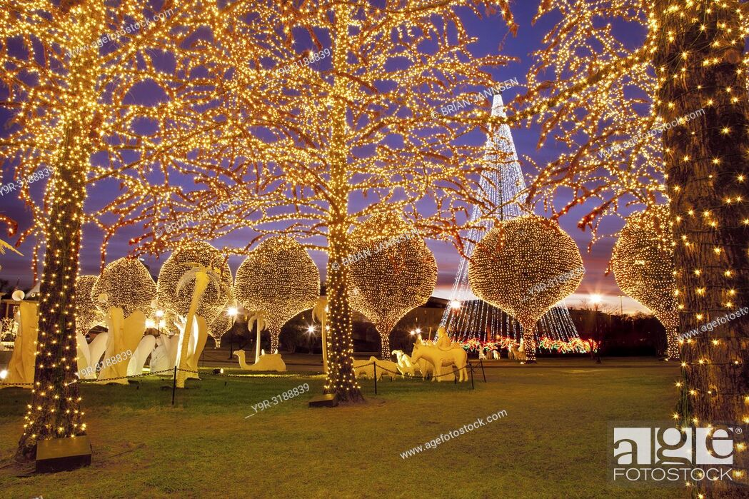 Stock Photo: Christmas decorations and lights at Opryland Hotel, Nashville Tennessee USA.