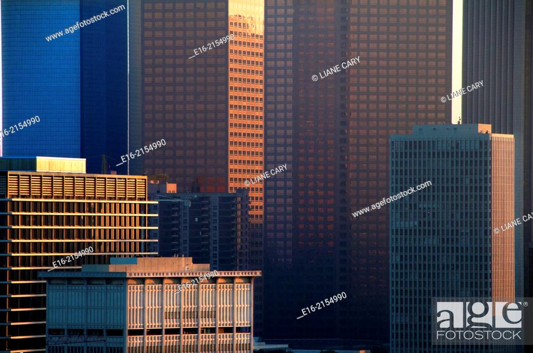 Stock Photo: view of downtown los Angeles in the evening.