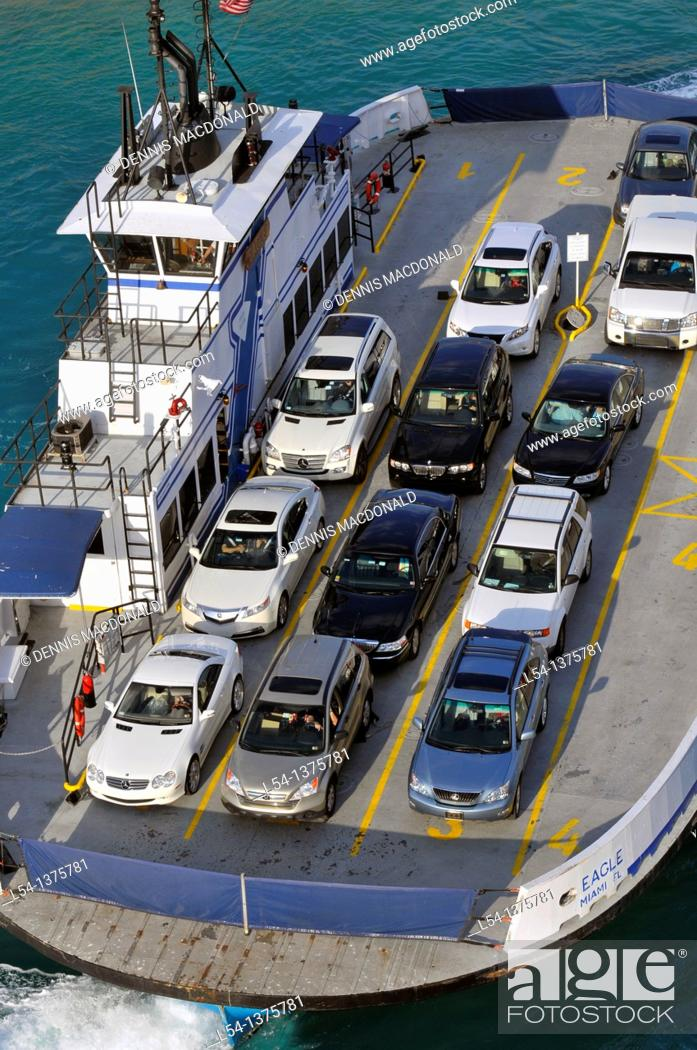 Stock Photo: Car Ferry transports automobiles from Fisher Island to Miami Florida.