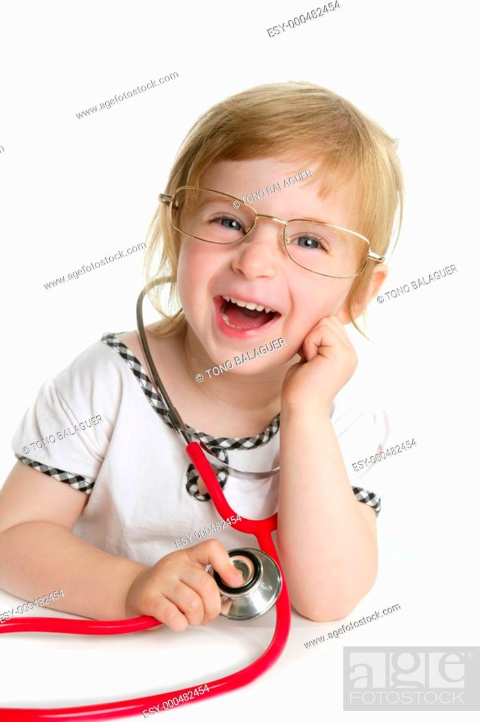 Photo de stock: Cute little girl pretending to be a doctor with stethoscope over white.