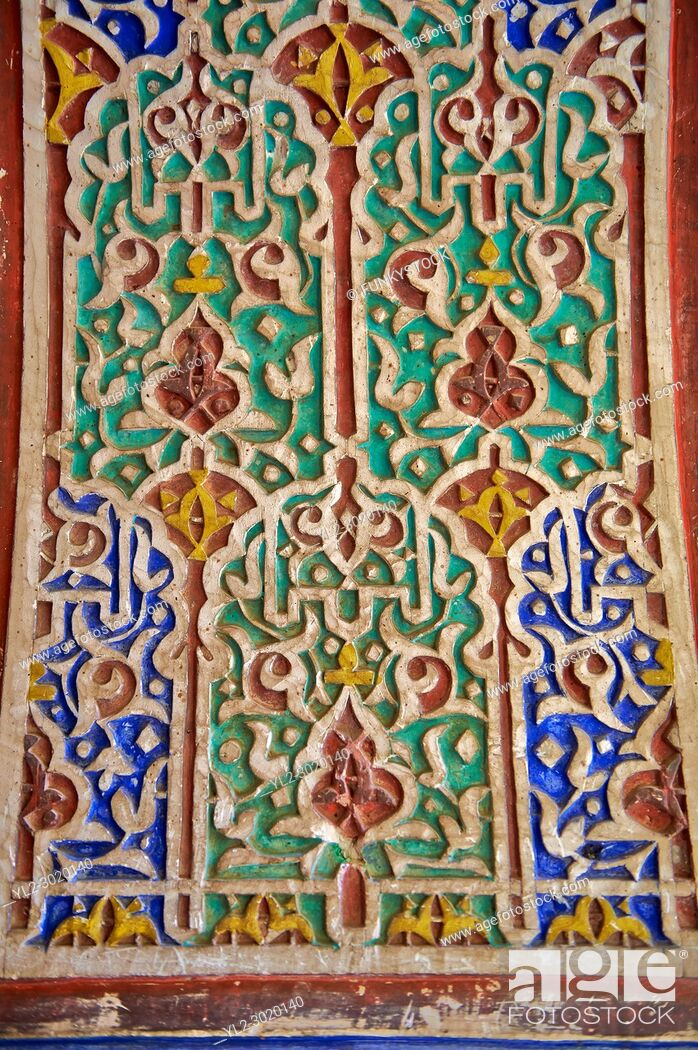 Stock Photo: Berber Arabesque painted Morabe platerwork architectural details from the Petite Court, Bahia Palace, Marrakesh, Morroco.