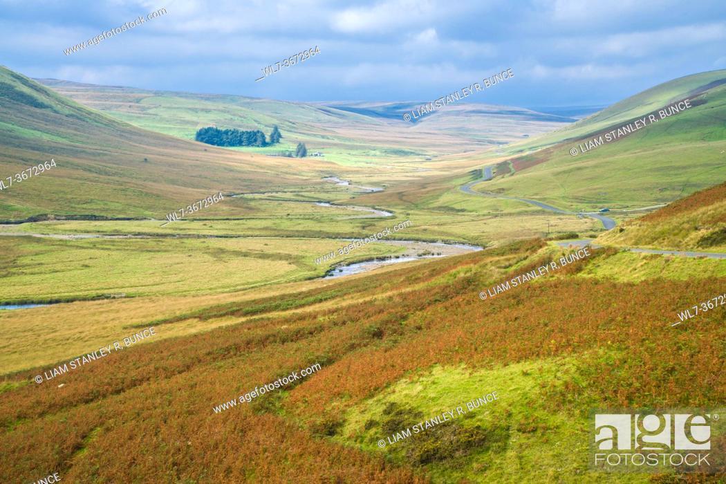 Stock Photo: River Elan at Pont Ar Elan in the Cambrian Mountains, Wales UK. September 2020.